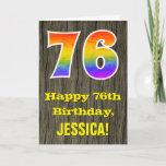 "[ Thumbnail: 76th Birthday: Rustic Faux Wood Look, Rainbow ""76"" Card ]"
