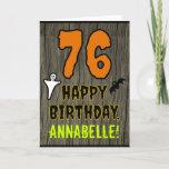 [ Thumbnail: 76th Birthday: Spooky Halloween Theme, Custom Name Card ]