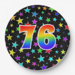 [ Thumbnail: 76th Event: Bold, Fun, Colorful Rainbow 76 Paper Plate ]