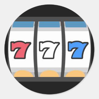 777 Lucky Slot Machine Classic Round Sticker