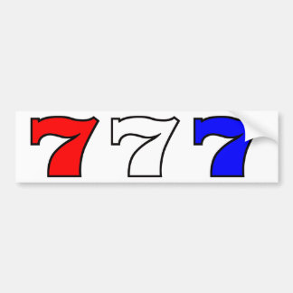 777 red white and blue bumper sticker