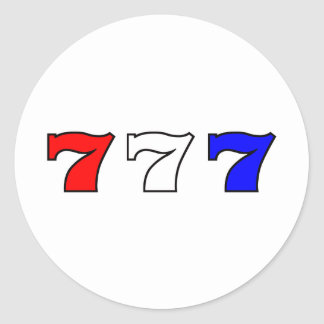 777 red white and blue classic round sticker