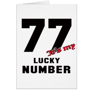 77 es mi número afortunado tarjeta de felicitación