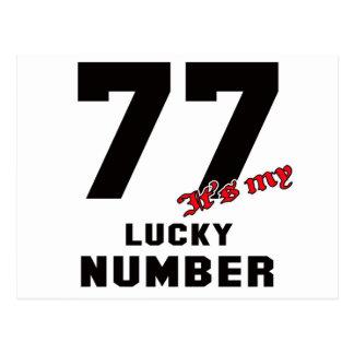 77 es mi número afortunado tarjeta postal