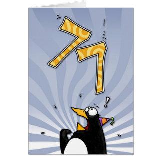 77.o cumpleaños - tarjeta de la sorpresa del pingü
