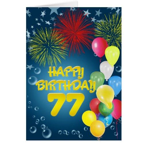 77.o Tarjeta de cumpleaños con los fuegos