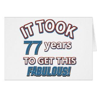 77.os diseños del cumpleaños del año tarjeta de felicitación