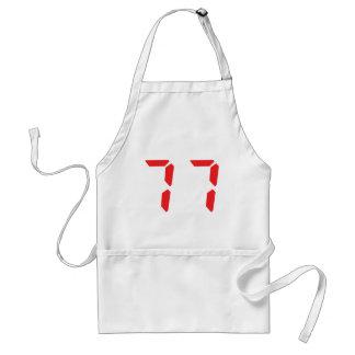 77 seventy-seven red alarm clock digital number aprons