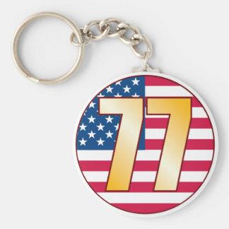 77 USA Gold Basic Round Button Keychain