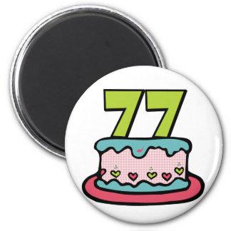77 Year Old Birthday Cake Magnet