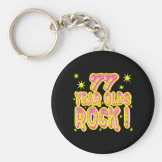 77 Year Olds Rock! (Pink) Keychain