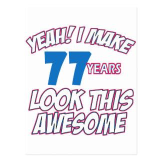77 YEARS OLD BIRTHDAY DESIGNS POSTCARD