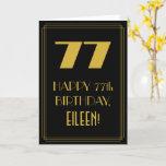 "[ Thumbnail: 77th Birthday ~ Art Deco Inspired Look ""77"" & Name Card ]"