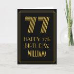 "[ Thumbnail: 77th Birthday: Art Deco Inspired Look ""77"" & Name Card ]"