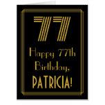 "[ Thumbnail: 77th Birthday: Art Deco Inspired Look ""77"" + Name Card ]"
