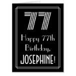 "[ Thumbnail: 77th Birthday — Art Deco Inspired Look ""77"" + Name Card ]"