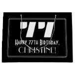 "[ Thumbnail: 77th Birthday ~ Art Deco Inspired Look ""77"" + Name Gift Bag ]"