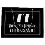"[ Thumbnail: 77th Birthday: Art Deco Inspired Style ""77"", Name Gift Bag ]"