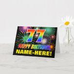[ Thumbnail: 77th Birthday: Bold, Fun, Fireworks, Rainbow 77 Card ]