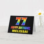 [ Thumbnail: 77th Birthday: Bold, Fun, Simple, Rainbow 77 Card ]
