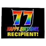 [ Thumbnail: 77th Birthday: Bold, Fun, Simple, Rainbow 77 Gift Bag ]