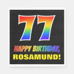 [ Thumbnail: 77th Birthday: Bold, Fun, Simple, Rainbow 77 Napkins ]