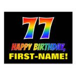 [ Thumbnail: 77th Birthday: Bold, Fun, Simple, Rainbow 77 Postcard ]