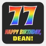 [ Thumbnail: 77th Birthday: Bold, Fun, Simple, Rainbow 77 Sticker ]