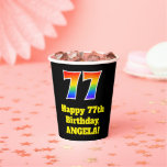 [ Thumbnail: 77th Birthday: Colorful, Fun, Exciting, Rainbow 77 ]
