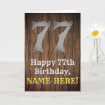 [ Thumbnail: 77th Birthday: Country Western Inspired Look, Name Card ]