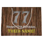 [ Thumbnail: 77th Birthday: Country Western Inspired Look, Name Gift Bag ]