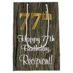 [ Thumbnail: 77th Birthday: Elegant Faux Gold Look #, Faux Wood Gift Bag ]