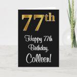 [ Thumbnail: 77th Birthday ~ Elegant Luxurious Faux Gold Look # Card ]