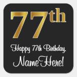 [ Thumbnail: 77th Birthday – Elegant Luxurious Faux Gold Look # Sticker ]