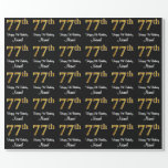 [ Thumbnail: 77th Birthday: Elegant Luxurious Faux Gold Look # Wrapping Paper ]