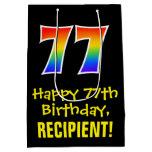 "[ Thumbnail: 77th Birthday: Fun, Bold, Colorful, Rainbow ""77"" Gift Bag ]"