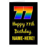 [ Thumbnail: 77th Birthday: Fun, Colorful, Happy, Rainbow # 77 Card ]