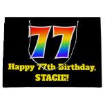 [ Thumbnail: 77th Birthday ~ Fun, Colorful, Vibrant, Rainbow 77 Gift Bag ]