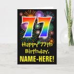 [ Thumbnail: 77th Birthday: Fun Fireworks Pattern + Rainbow 77 Card ]