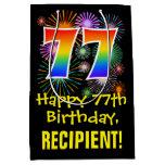 [ Thumbnail: 77th Birthday: Fun Fireworks Pattern + Rainbow 77 Gift Bag ]