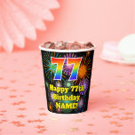 [ Thumbnail: 77th Birthday: Fun Fireworks Pattern + Rainbow 77 ]