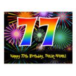 [ Thumbnail: 77th Birthday – Fun Fireworks Pattern + Rainbow 77 Postcard ]