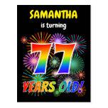 "[ Thumbnail: 77th Birthday - Fun Fireworks, Rainbow Look ""77"" Postcard ]"