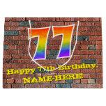 [ Thumbnail: 77th Birthday: Fun, Graffiti-Inspired Rainbow # 77 Gift Bag ]