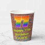 [ Thumbnail: 77th Birthday: Fun Graffiti-Inspired Rainbow 77 ]