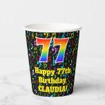 [ Thumbnail: 77th Birthday: Fun Music Notes Pattern, Rainbow 77 ]