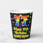 [ Thumbnail: 77th Birthday: Fun Stars Pattern and Rainbow 77 ]