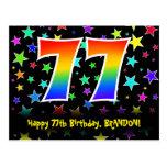 [ Thumbnail: 77th Birthday: Fun Stars Pattern, Rainbow 77, Name Postcard ]