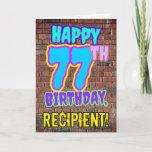 [ Thumbnail: 77th Birthday - Fun, Urban Graffiti Inspired Look Card ]