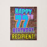 [ Thumbnail: 77th Birthday ~ Fun, Urban Graffiti Inspired Look Jigsaw Puzzle ]